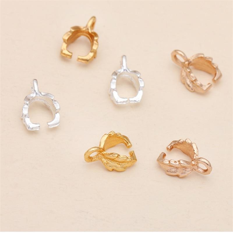 50pcs/lot 7X11mm pendant clips Buckle Pendant Clasps Hook Bail Clip Jewelry Charm Pendant Connectors for DIY Jewelry Making