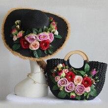 Bohême Style photographie Design Original décontracté été vacances fourre-tout sac à main chapeau costume femmes mode Rose fleur paille sac de plage
