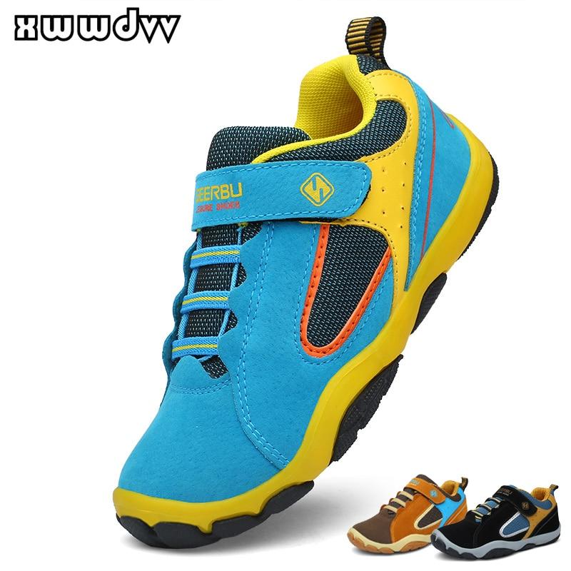 Детские кроссовки XWWDVV для мальчиков, уличная дорожная обувь для пешего туризма, Нескользящие износостойкие детские кроссовки, замша, кожа, ...