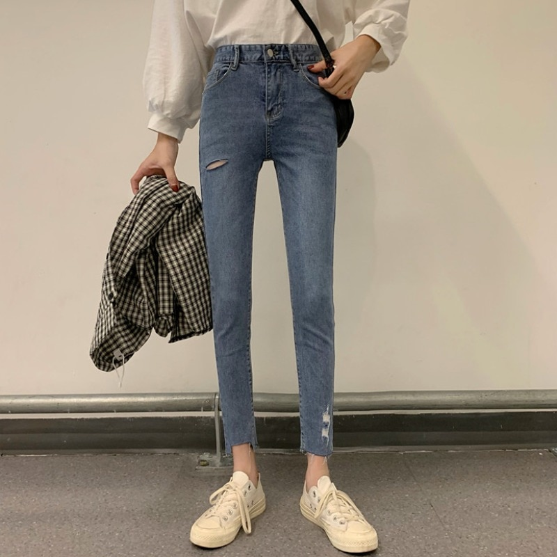 Jeans Women's High Waist Slimming Stretch Skinny Tappered Pants 2021new Spring Bottoming Pencil Pant