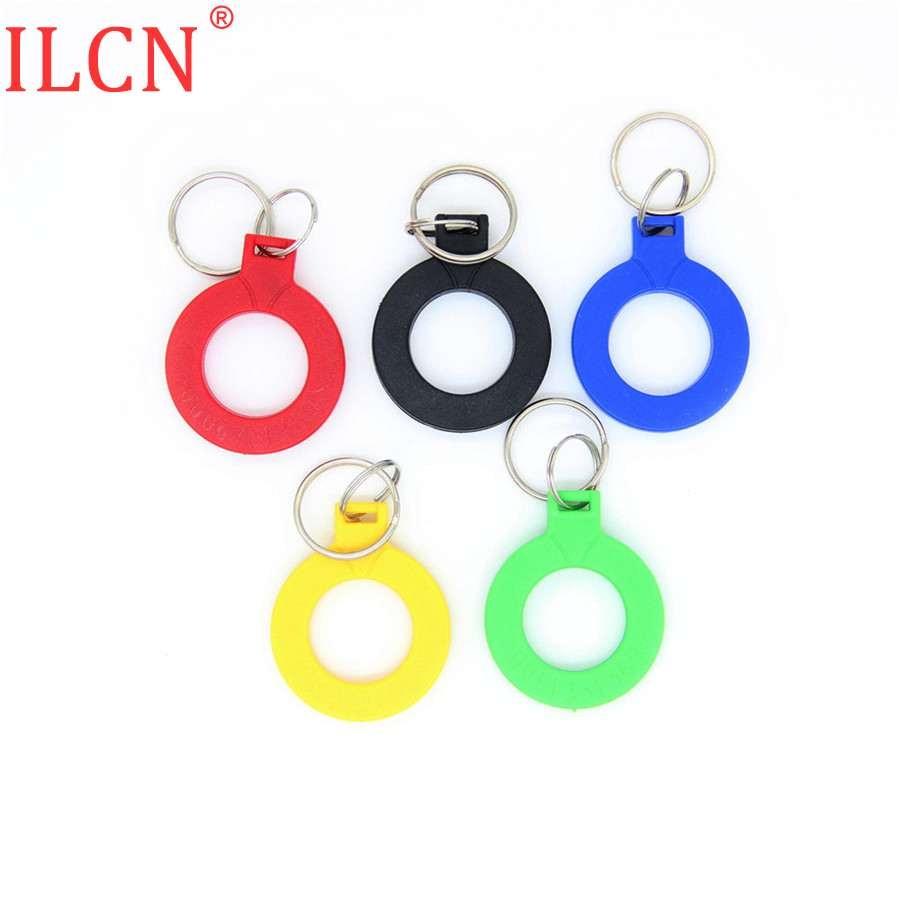125khz ID Keyfob EM4100 TK4100 llavero RFID banda leer sólo Token Tag tarjeta de Control de acceso Circular Rojo Negro Azul amarillo verde 1