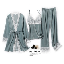Pajamas Female Spring and Autumn Sexy Pleuche Long Sleeve Pants Three-Piece Padded Strap Nightgown T