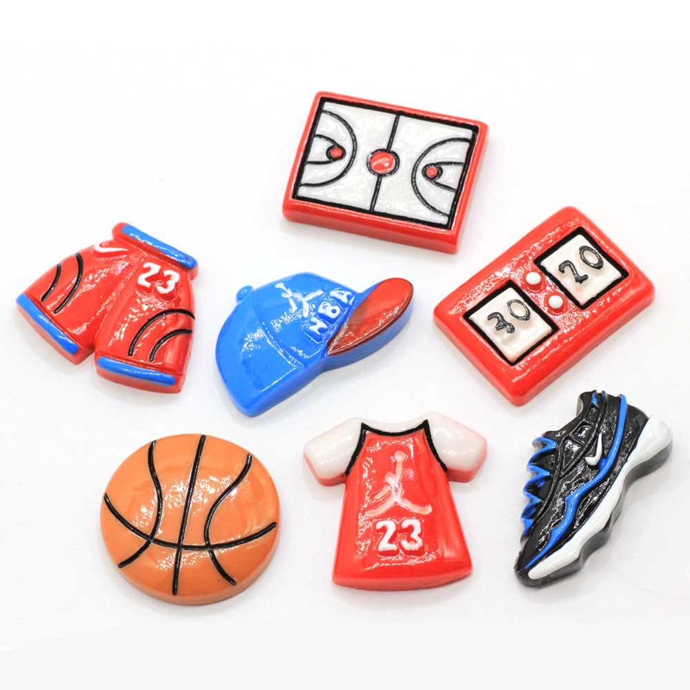 10/100 Uds. Zapatillas de baloncesto planas de resina para deportes, camiseta, pantalones, sombrero, cabujón de resina, Parte posterior plana, accesorios de adorno DIY