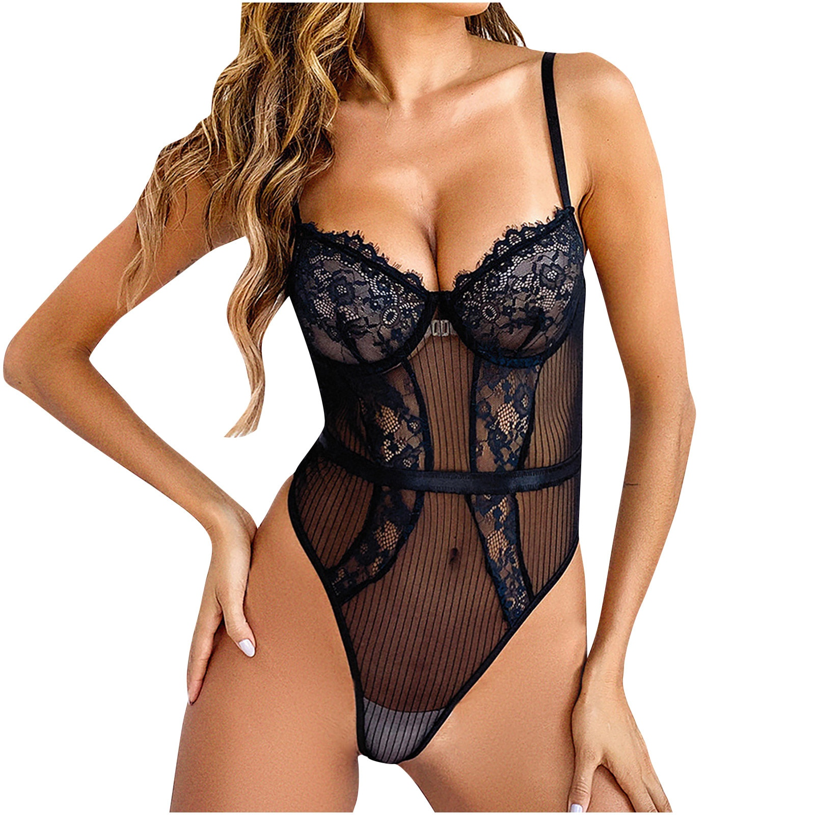 Floral Lace Embroidery Bodysuit Women Sexy Lingerie Mesh Perspective Body Suit Mujer Fashion Mesh Skinny Bodysuits Jumpsuit