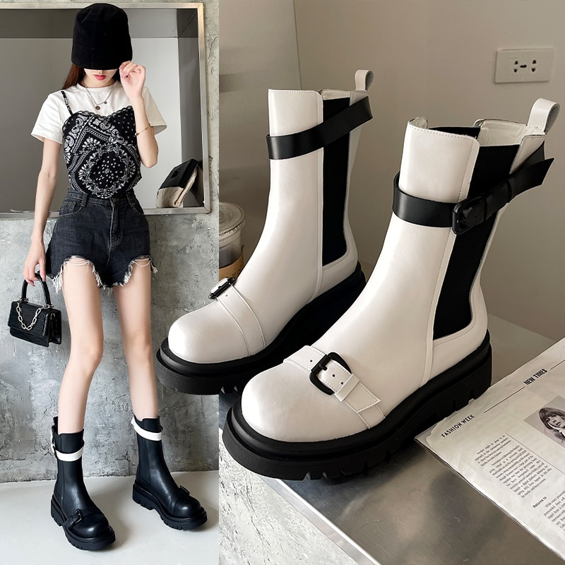 2021 Autumn Boots Woman PU Leather Boots Long Boots Breathable Women Fashion Outdoor Booties Comfort