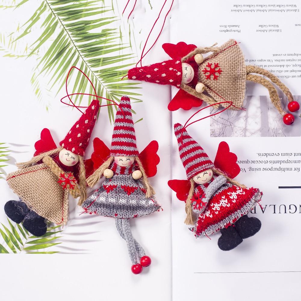 ¡Novedad de 2019! Decoraciones navideñas de tela con colgante de Ángel para niña, decoración de árbol de Navidad, colgante con adornos de navidad