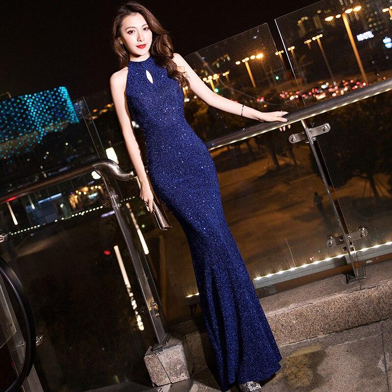 Темно-синие вечерние платья It's Yiiya K103, элегантные вечерние платья русалки без рукавов, длинные платья на молнии, 2020