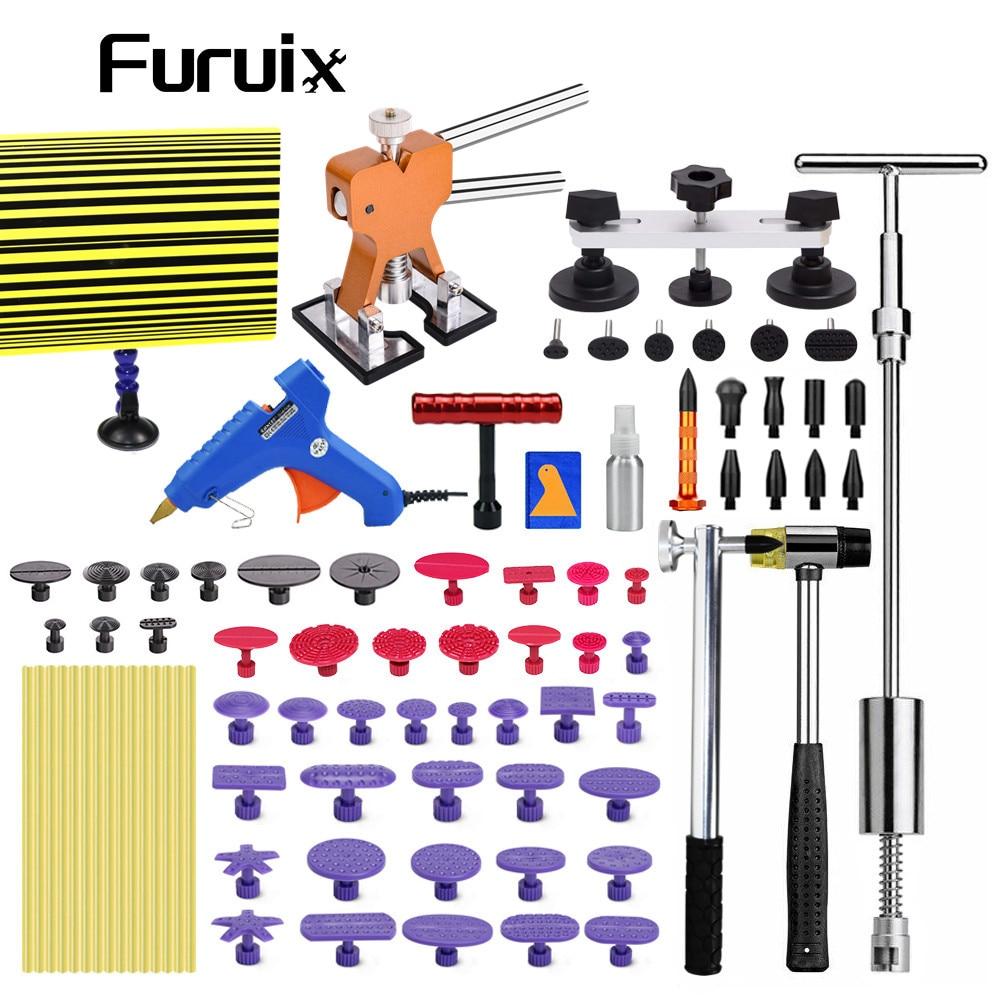 FUURIX Paintless Dent Repair Puller Lifter Tool T Bar Hammer Removal Glue kit