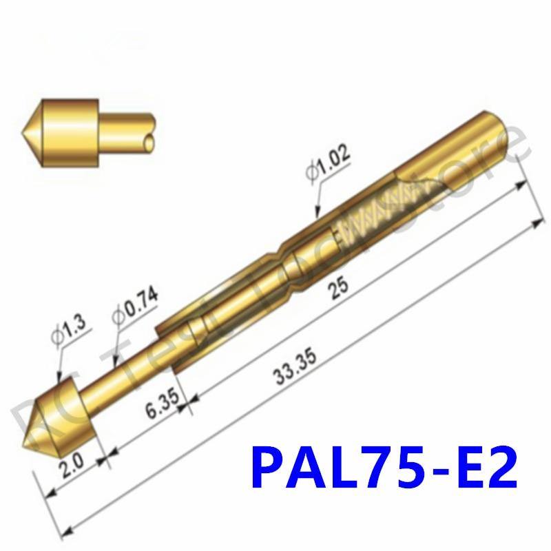 Durable Brass Spring Test Probe PAL75-E2 Household Metal Spring Test Probe Sleeve Length 33.35mm Spring Test Probe 100 / PCS