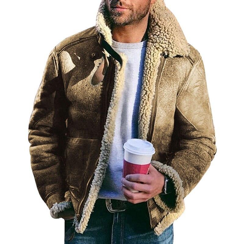 Men Retro Fur Jackets 2020 Men Slim Fit Motorcycle Fur Jacket Fashion Outwear Male Warm Bomber Military Outdoor Coats