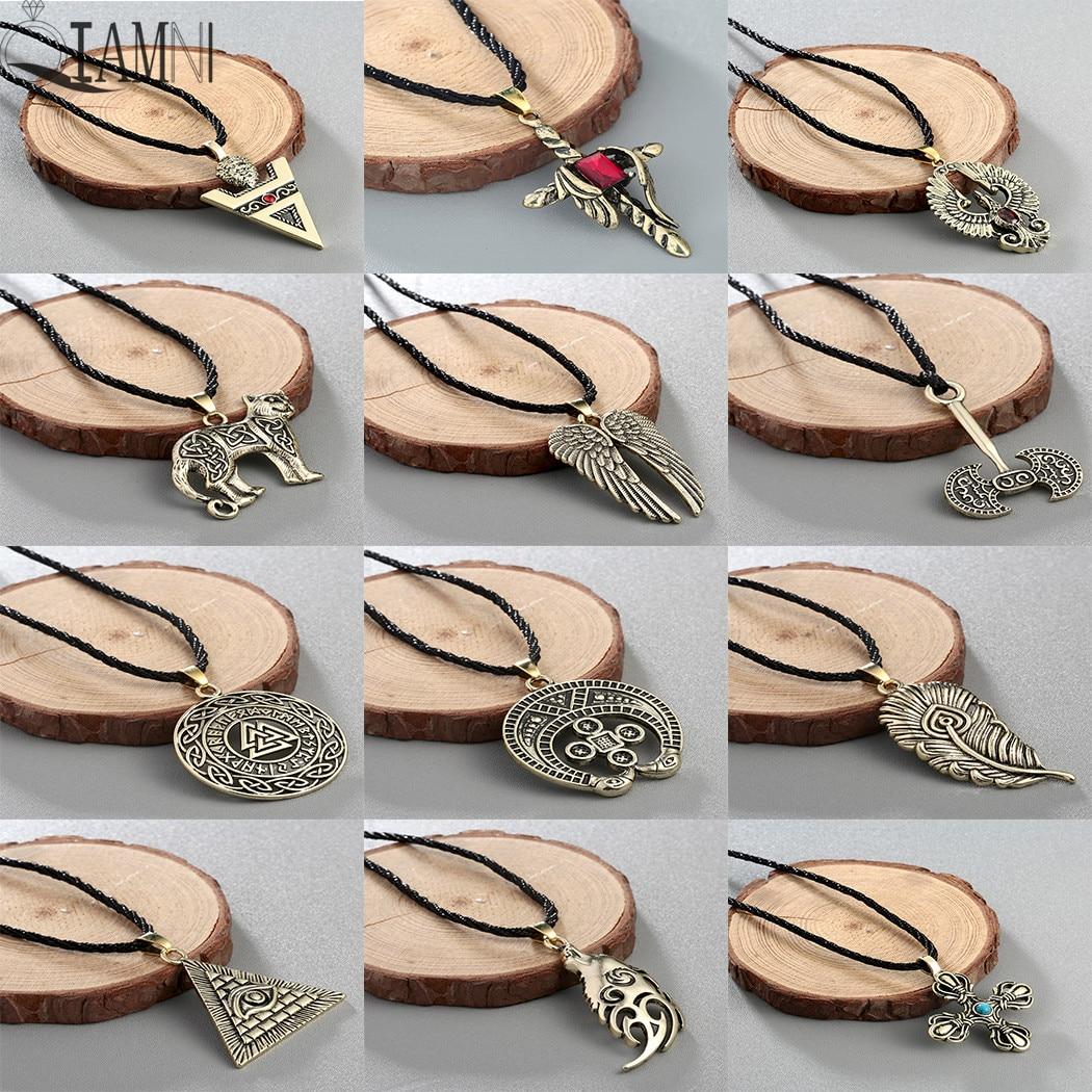 QIAMNI Gótico Machado Pingente Amuleto Talismã Colar Norse Viking Runa Pagã Eslava Étnica Gargantilha Do Vintage do Sexo Masculino Colar de Jóias Presente