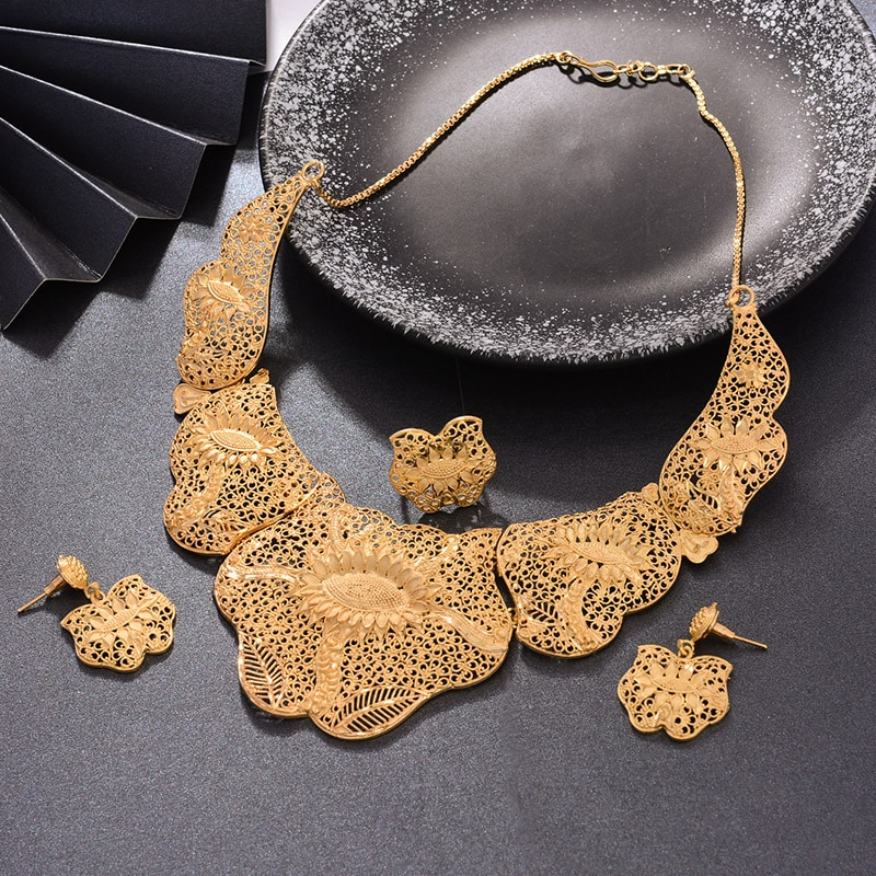 WANDO Dubai Jewelry Set Luxury Gold Color For Bride Women Big Nigerian Wedding African Necklace Earrings Rings Jewelry Sets