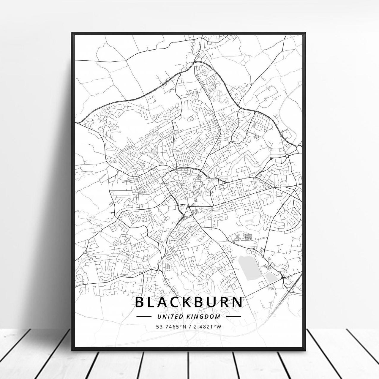 Blackburn Dundee Exeter Exmouth Middlesbrough Slough Reino Unido mapa arte Póster