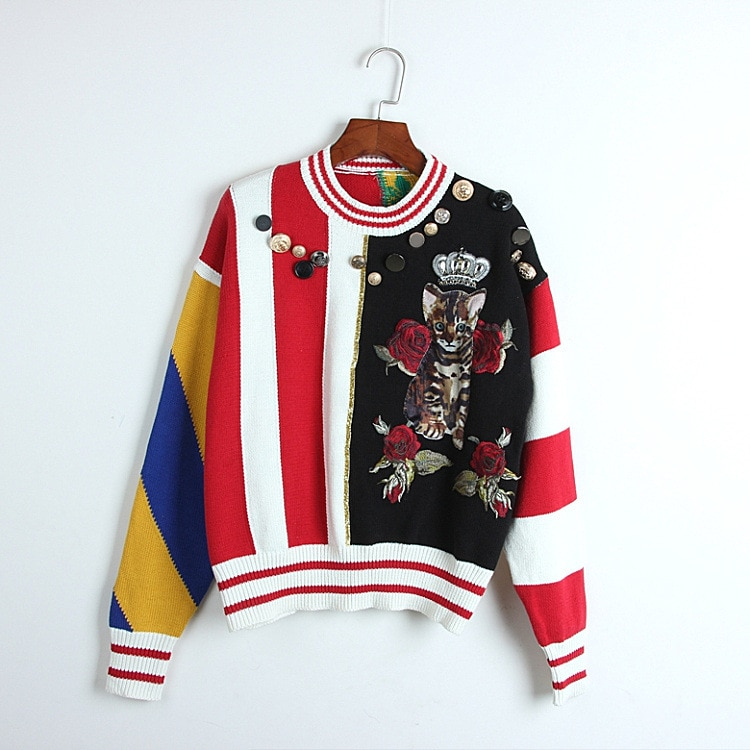 2020 Spring Sweater Free Shipping Fashion Womens Clothes  Beads Red Black Panelled  Kint Crew Neck Long Sleeve      DL