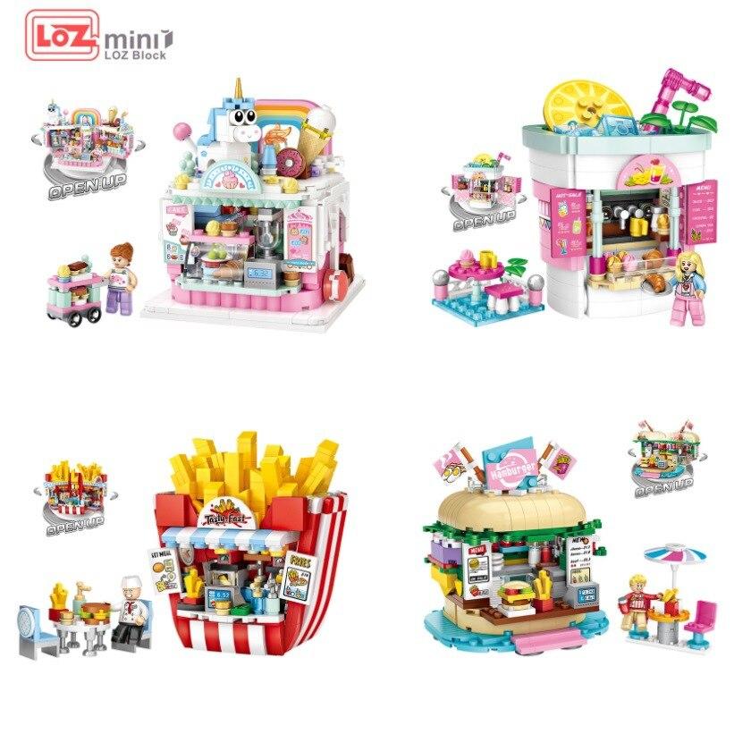 LOZ Blocks Amusement Park Building Bricks Drink Shop Model Hamburger Store Toys For Children juguete