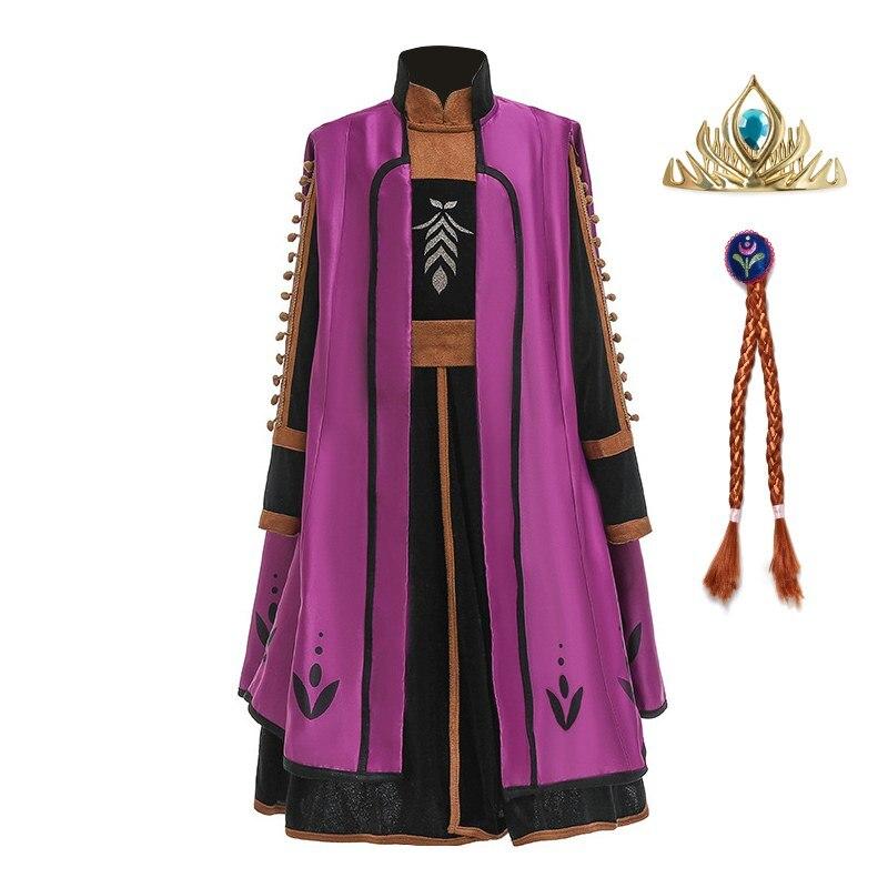 VOGUEON/новый костюм принцессы Анны 2 для девочек фиолетовая накидка, черные длинные платья и леггинсы комплект из 3 предметов, вечерние платья ...