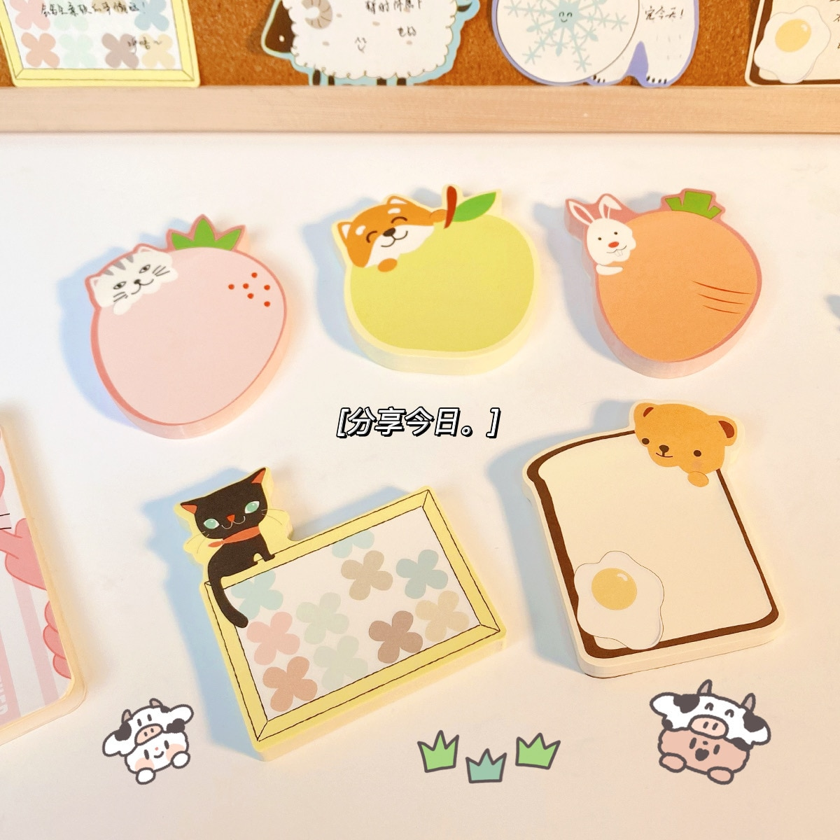 65sheet Creative Cartoon Memo Notes Custom Hand Account Note Pad Can Tear Reading Notes Girl Cute Little Book Sticky Tabs creative black white cat and little carton shape sticky notes