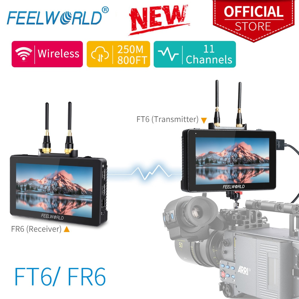 Feel world FT6 FR6 5.5 بوصة نظام نقل الفيديو اللاسلكي مع جهاز ريسيفر استقبال وإرسال DSLR كاميرا المجال المباشر التيار المتناوب DP مراقب