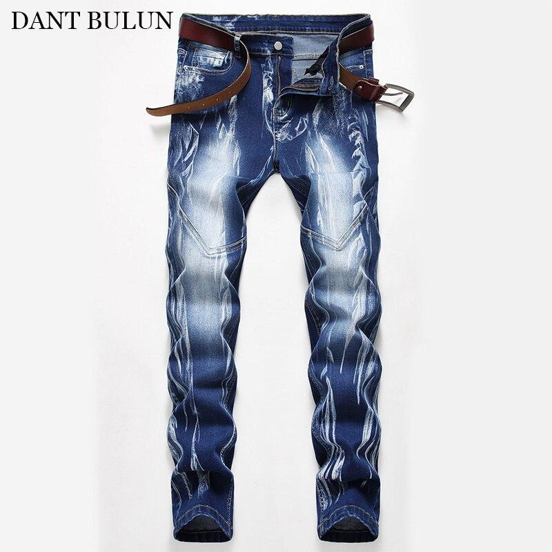 Мужские Стрейчевые синие джинсы, прямые облегающие джинсовые брюки, классические мужские Стрейчевые джинсы, дизайнерские мужские джинсы в...