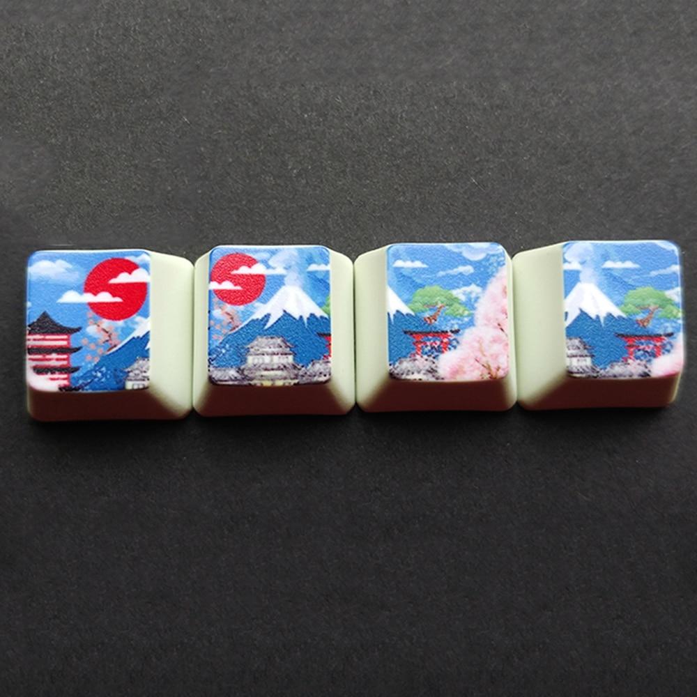 4 stücke OEM R4 Bunte PBT Verdicken Tastenkappen Mount Fuji Nette Katze Doraemon Kappe Für Cherry Mx Mechanische Keybaord WASD pfeil Schlüssel Kappe