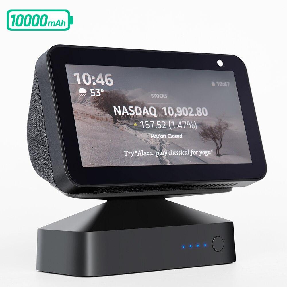 GGMM ES5 10000mAh Battery Base for Echo Show 5 Amazon Alexa Devices Smart Display Speaker Adjustable Portable Power Bank Stand