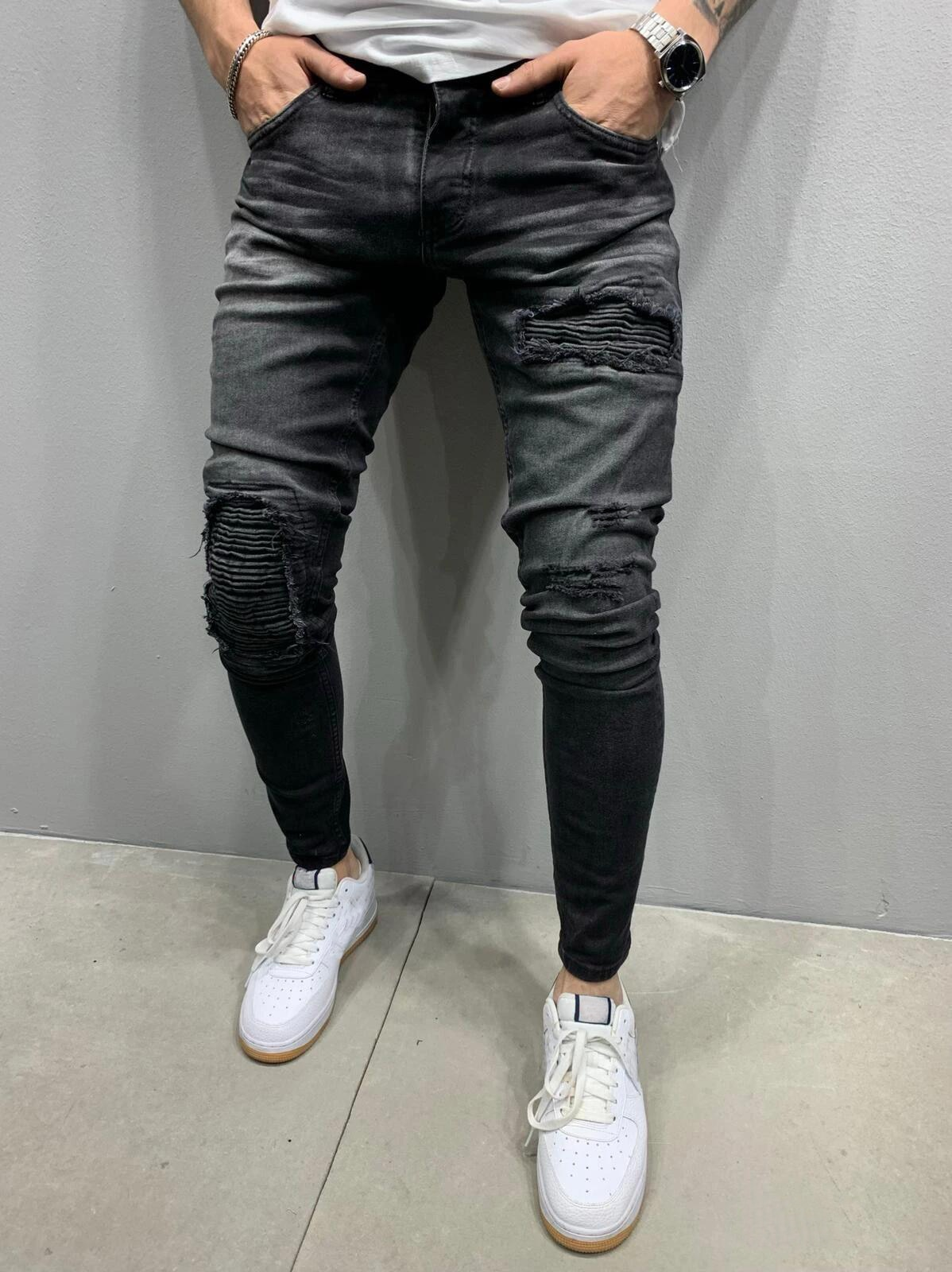 AliExpress - Casual Party Jeans Men Skinny Jeans Men 2020 Stretch Ripped Pants Streetwear Mens Denim Elastic Waist Black Blue pants S-3XL