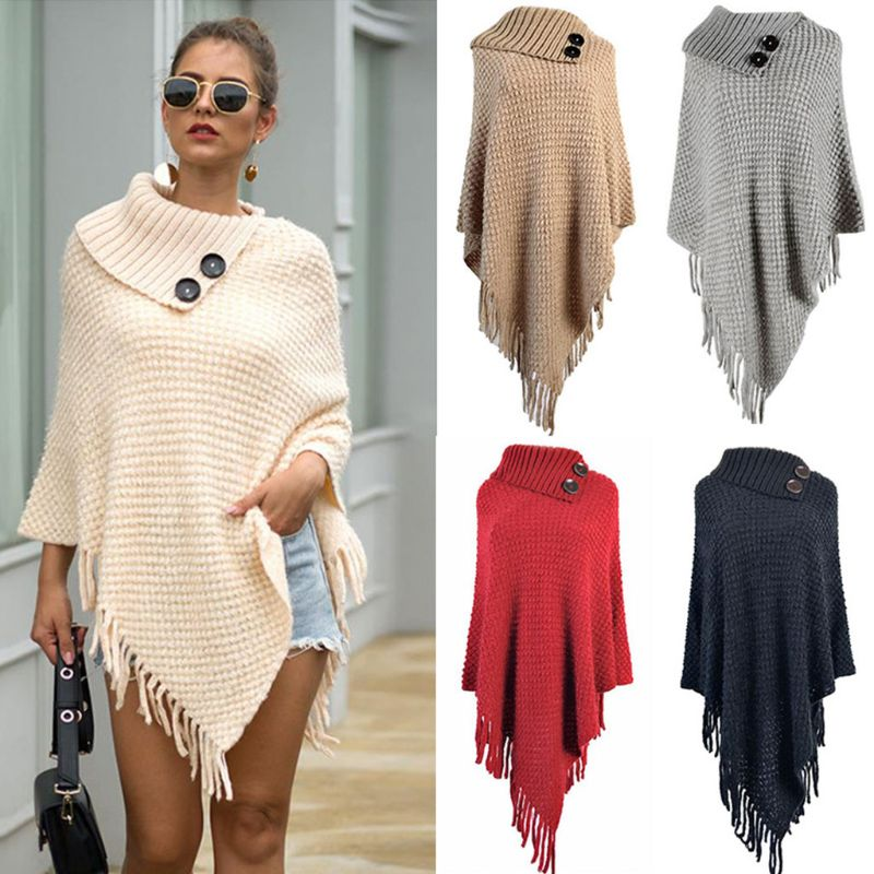 Women Knitted Pullover Sweater Top Half Opened Collar Buttons Warm Shawl Wrap Fringe Tassels Hem Solid Color Poncho Cape Cloak