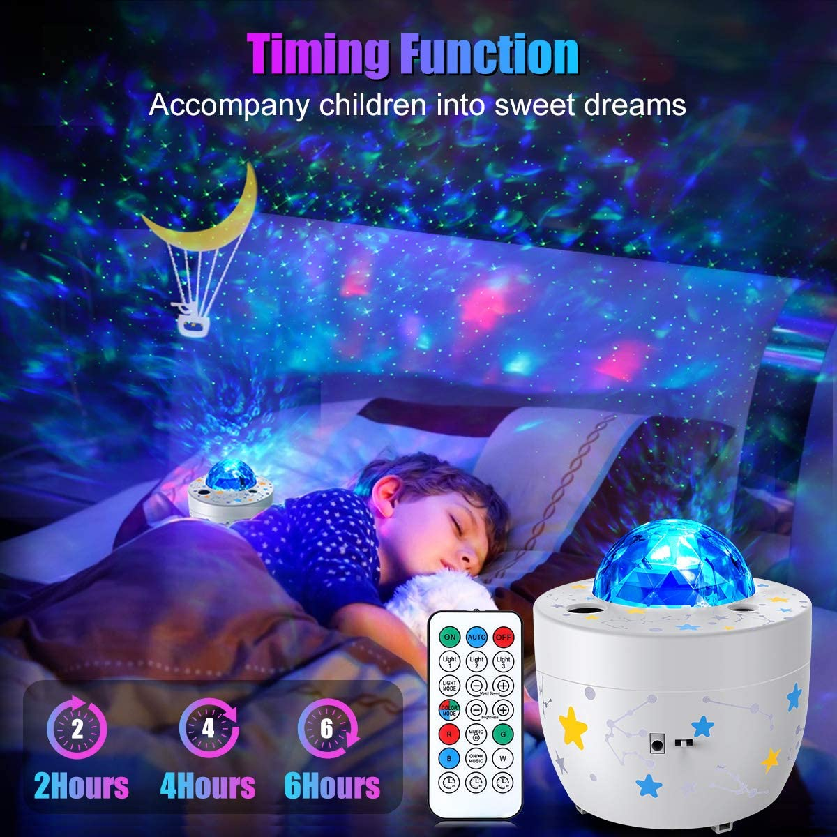 Galaxy Projector Kids Bedroom Lights Night Light 3 in 1 Ocean Wave Star Projector Remote Control for Home Decoration enlarge