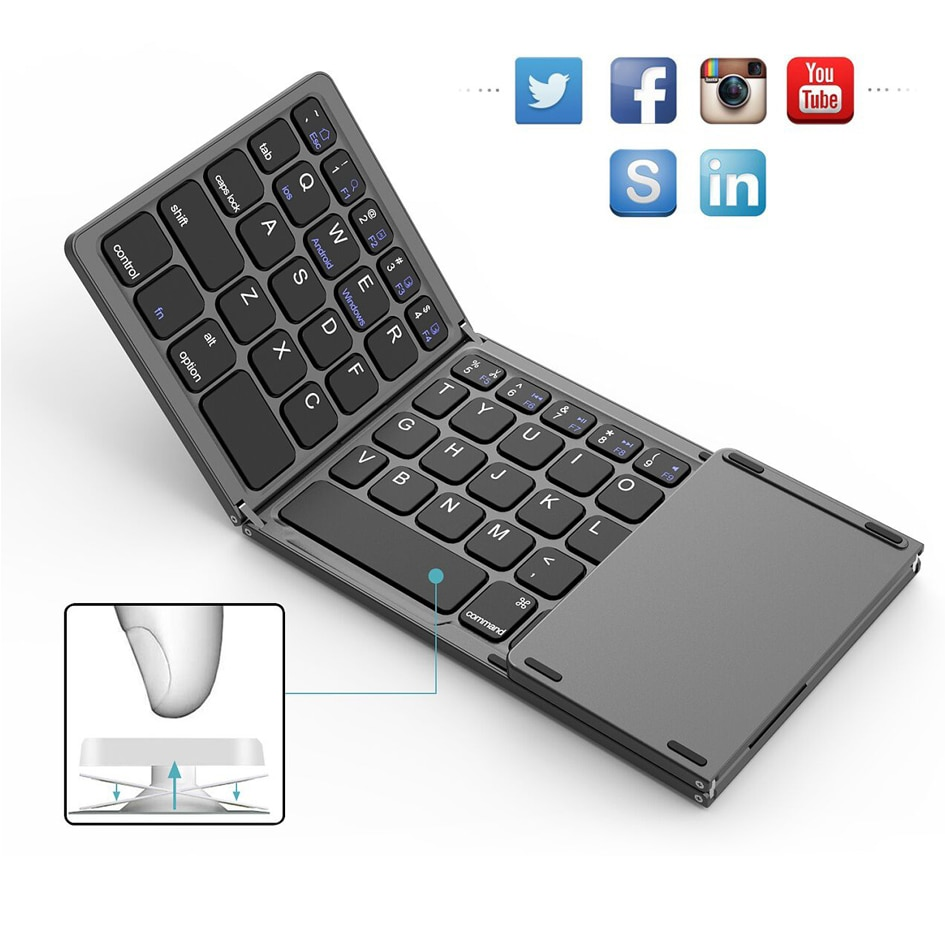 Mini Folding Touch Mouse Keyboard Wireless Bluetooth Keyboard With Touchpad For Laptops Tablet Pc ipad Android ios Mobile Phones