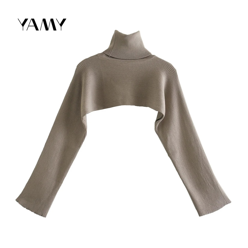 Women's turtleneck long-sleeved cropped sweater pullover knitted short top sexy simple not itchy jumper Chic Female Streetwear euro american simple round necked short sleeved chic port flavored elastic knitted dress with tight body and buttocks