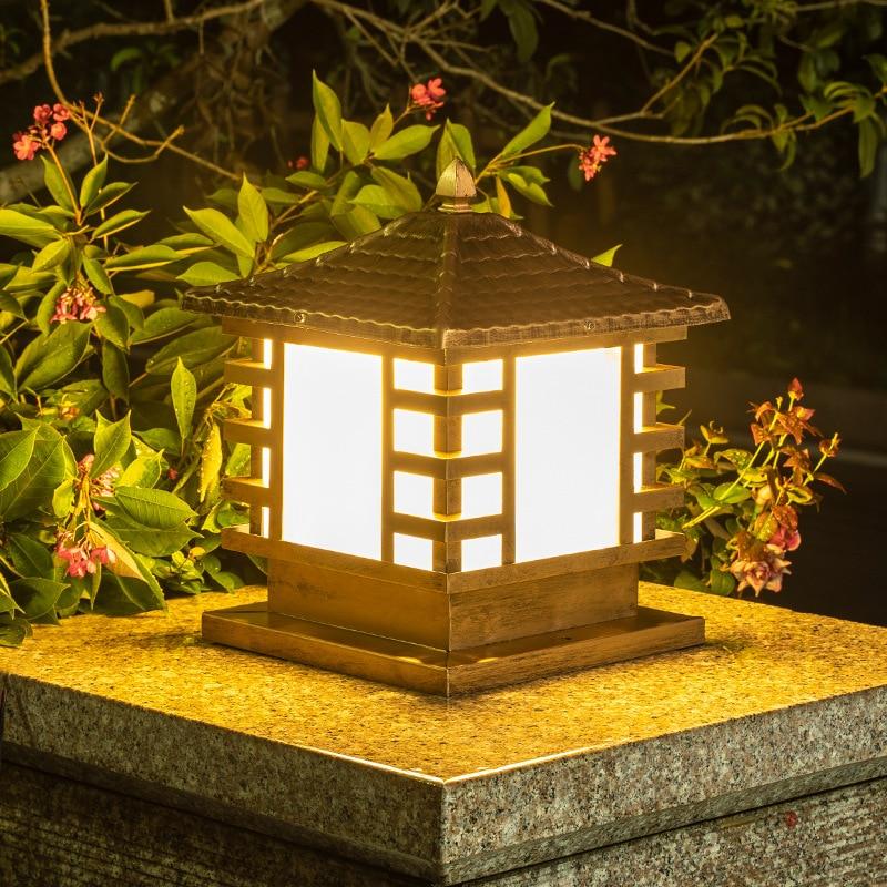 Outdoor led solar light aluminum waterproof wall garden villa gate pillar light solar pillar head light enlarge