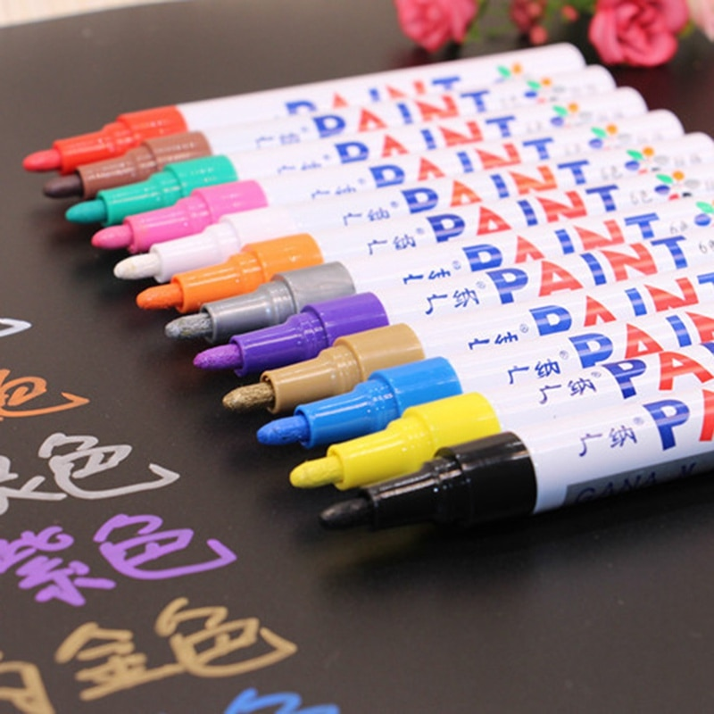 12 colors Waterproof Car Tyre Tire Tread CD Metal Permanent Paint Marker Oily Marker Pens Car Accessories Car Wash Maintenance недорого