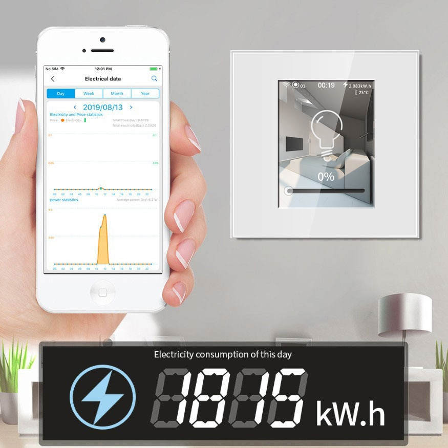 LED Dimmer Smart Wifi Dimmer Switch 220V 110V Work with Apple Homekit Alexa Google Home Assistant LCD Touch Power Consumption enlarge