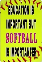 funny softball player boat metal tin sign wall decor man cave bar education is important