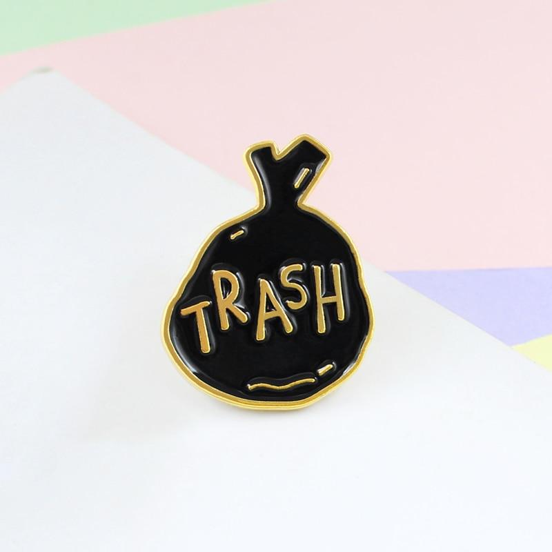 Dorado borde negro especial Chic Humor ordinario basura broche estilo bolso esmalte solapa Pin Denim abrigo niño joyas Accesorios