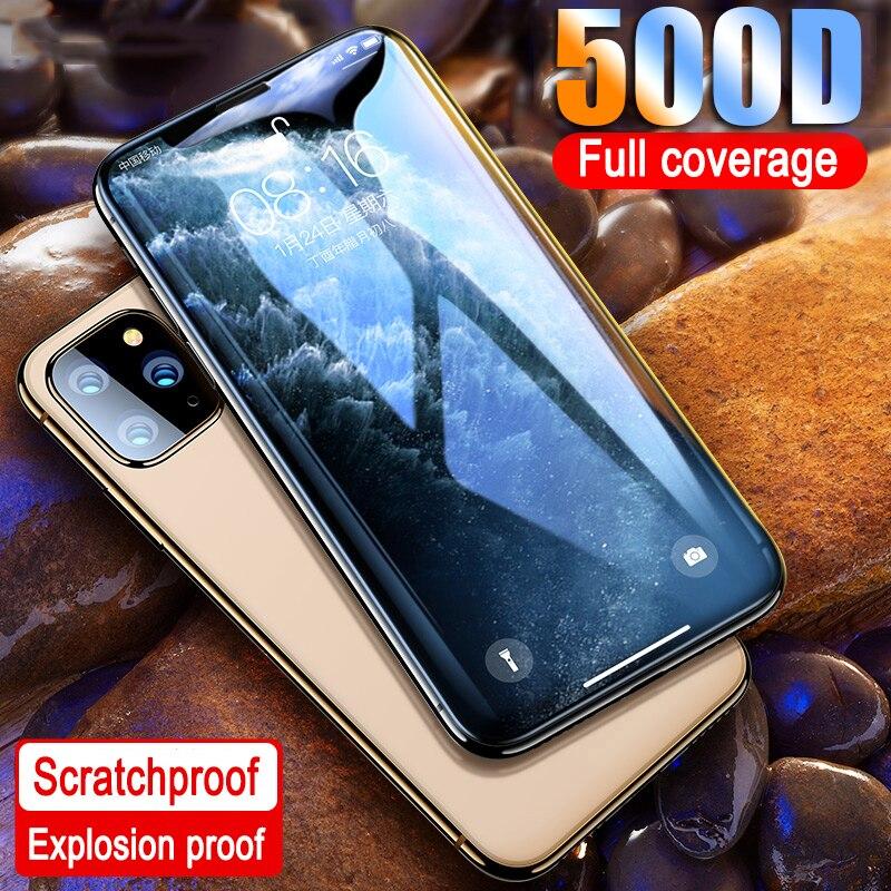 500d borda curvada vidro protetor no para iphone 11 pro max 7 8 6 plus vidro temperado para 11 pro x xr xs max protetor de tela