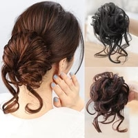 dianqi synthetic curly donut black chignon with elastic band messy hair bun updo hairpieces extensions for women