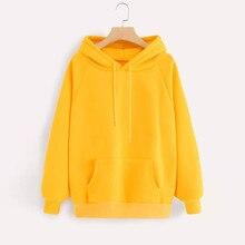 Желтые толстовки женские толстовки Harajuku толстовка с капюшоном пуловер Топы Блузка с карманом модная одежда d #