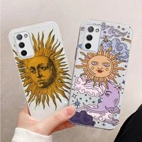 sun and moon face art pattern phone case transparent for oppo r reno 9 11 17 3 4 s plus pro 15x k7 protective shell cover