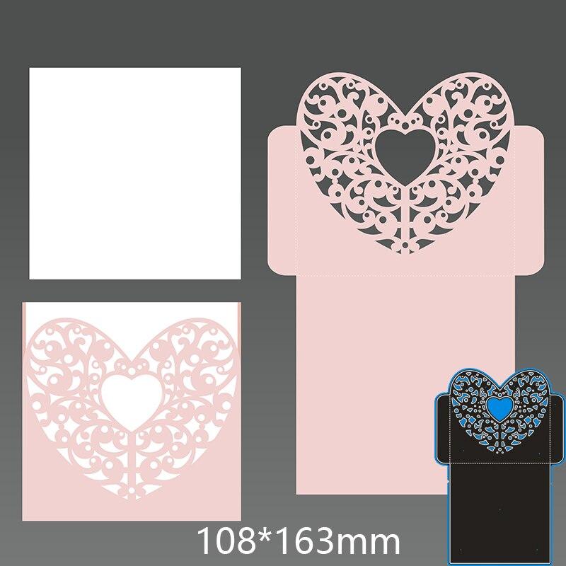 Metal steel Cutting Dies Heart shaped openwork greeting card  DIY Scrapbooking Photo Album Embossing paper Cards 108*163mm