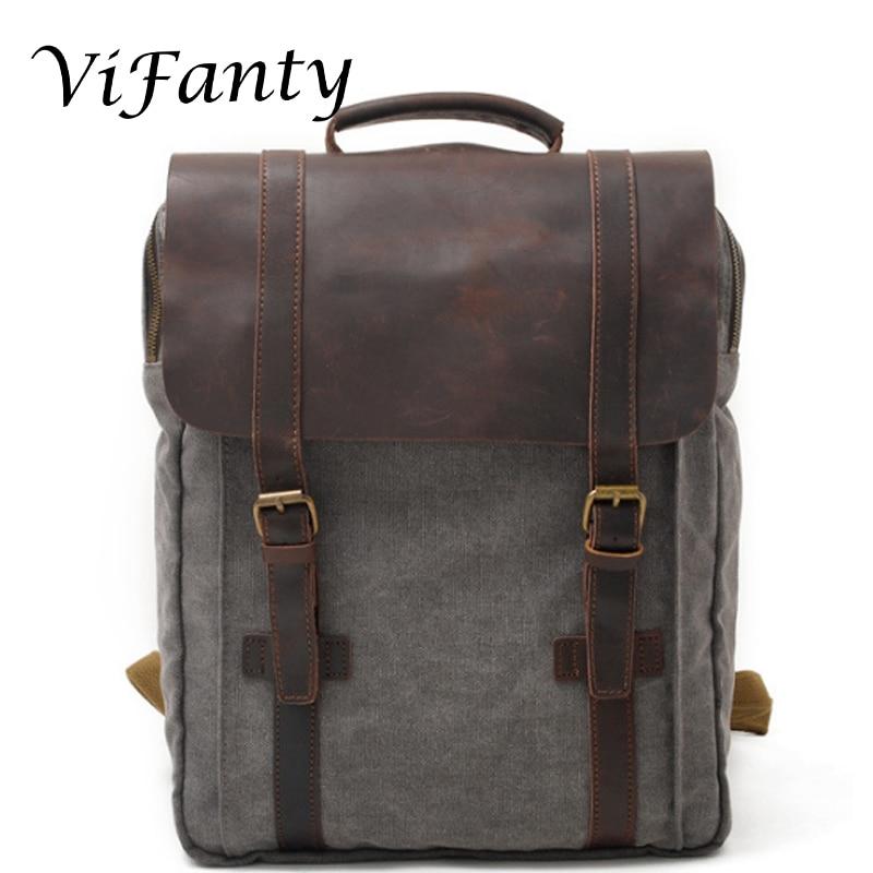 Ретро Холщовый кожаный Школьный Рюкзак Для Путешествий Рюкзак 15,6 дюймов Сумка для ноутбука