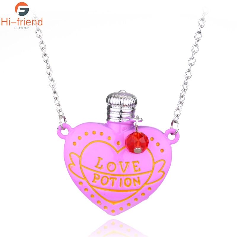 Hot Movie LOVE POTION Pink Heart Bottle Pendant Necklace