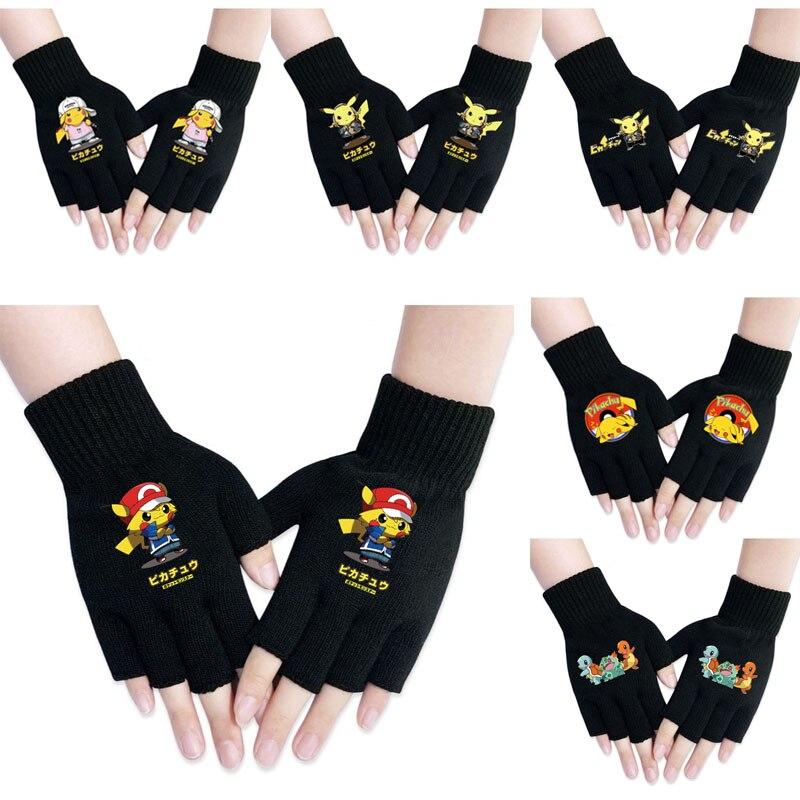 Аниме Покемон перчатки Пикачу Косплей костюмы Аксессуары варежки аниме одежда вокруг реквизит мужчины и wo держать тепло и холод