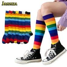 Luxe arc-en-ciel rayure genou longues chaussettes femme coton mode coloré haute qualité femme jambe chaussettes Vintage Hiphop Skateboard chaussette