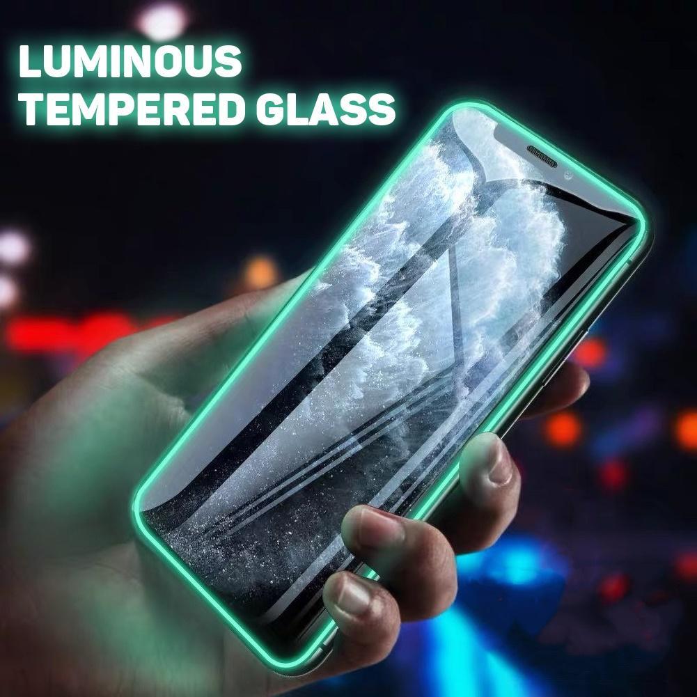 Protecteur d'écran pour iPhone, couverture complète lumineuse en verre trempé, Film Anti-chute, fluorescent, pour XS, 11 Pro Max, X, XR