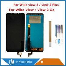 Para wiko vista/vista 2/vista 2 go/view 2 mais display lcd com tela de toque sensor vidro digitador assembléia com ferramentas fita