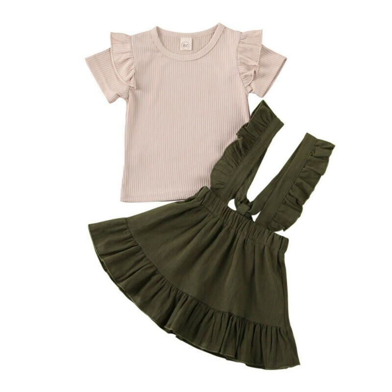 toddler baby girl kid outfit set tops t shirt tank floral skirt beach dress 1 5y AA 2Pc Kid Baby Girl Clothes Ruffle Short Sleeve Top T-shirt Strap Dress Casual Summer Outfit 6M-5Y