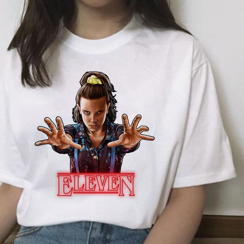 Camiseta para mujer de temporada 3 DE Stranger Things 11 Harajuku nueva camiseta divertida 90s camiseta gráfica femenina Ullzang camisetas arriba invertidas