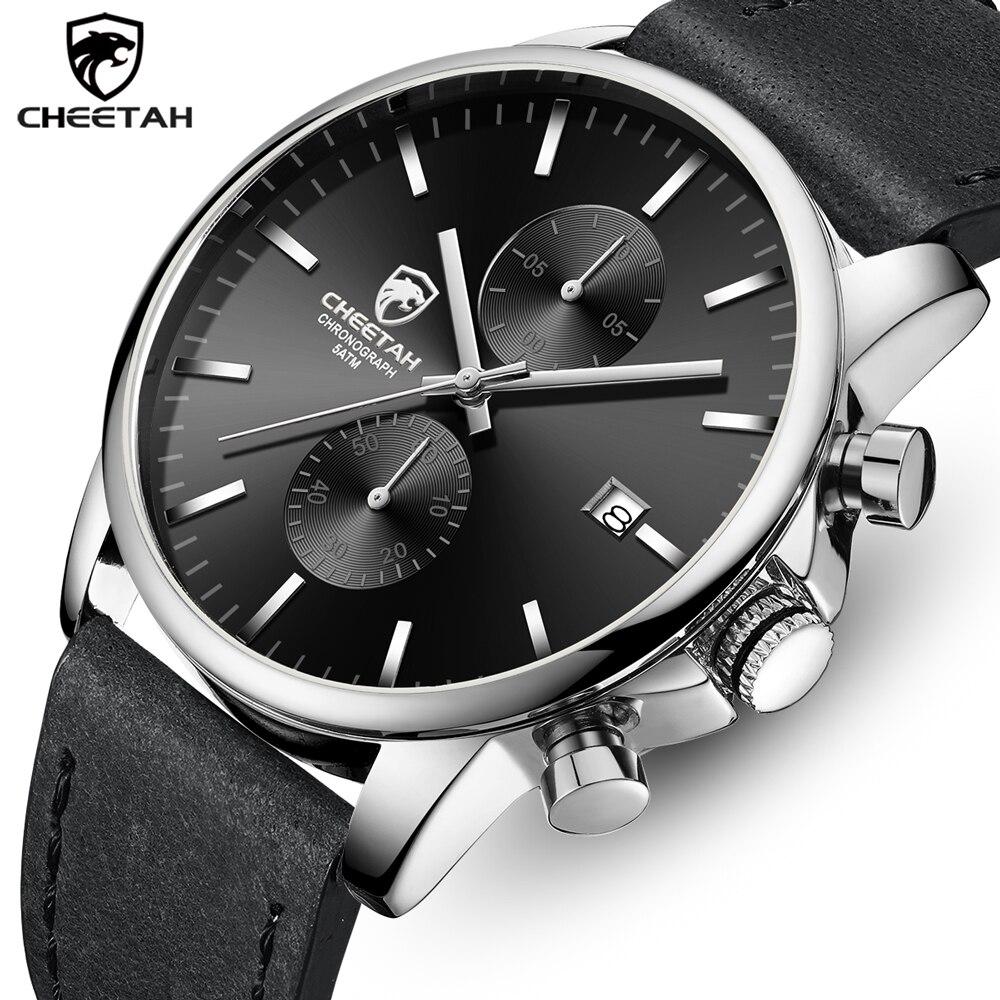 Guépard hommes montre à Quartz haut marque de luxe mode argent noir montre-bracelet Sport décontracté étanche horloge Relogio Masculino