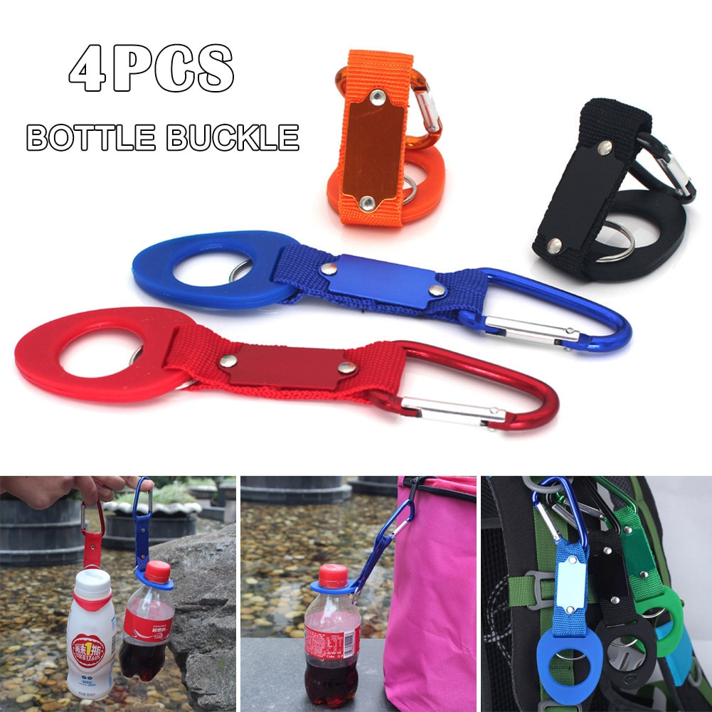 Nuevo 4 Uds senderismo Camping botella de agua mosquetón titular cuerda con gancho y hebilla Kits de viaje Drop Shipping